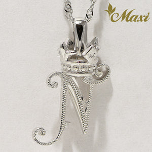 [14K White Gold] Hawaiian Heritage Old English Initial Pendant with Crown-Hand Engraved Traditional Hawaiian Design (P0428/A0111)