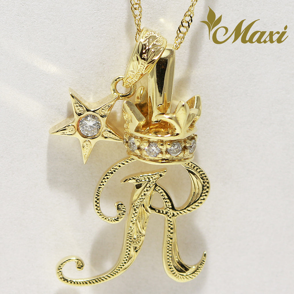 [14K Gold] Crown Initial Pendant with Star Charm Set (P0428, A0124, P0498) [Made to Order]