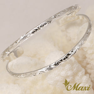 [Silver 925] Wavy Open Bangle-Hand Engraved Traditional Hawaiian Design (B0583)