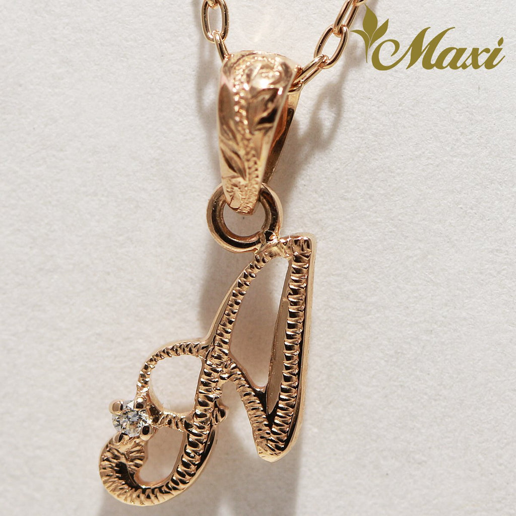 [14K Pink Gold] Petite Initial Pendant with Diamond [Made to Order] (P0628)