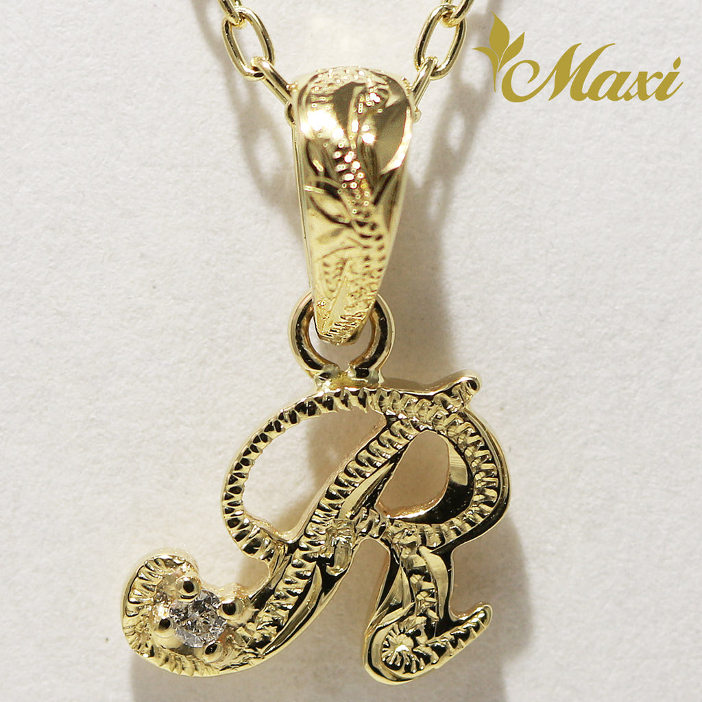 [14K Yellow Gold] Petite Initial Pendant with Diamond [Made to Order] (P0628)