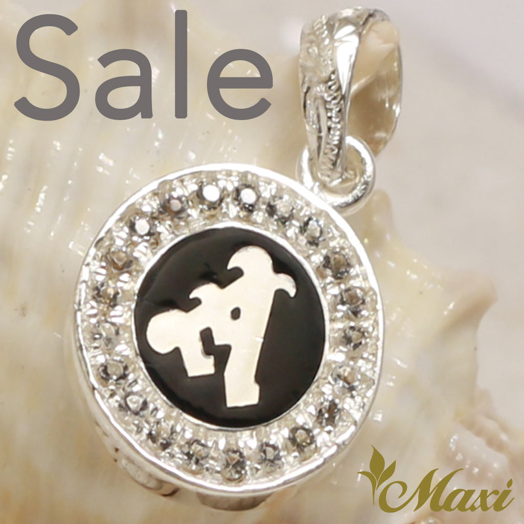[Silver 925] Round Initial Pendant with Crystal Stone Setting-Hand Engraved Traditional Hawaiian Design*Made-to-order* (P0699) SALE