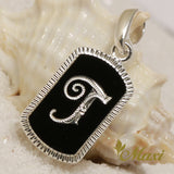 Silver 925 Black Enamel Initial Pendant-Hand Engraved Traditional Hawaiian Design(P0733) SALE
