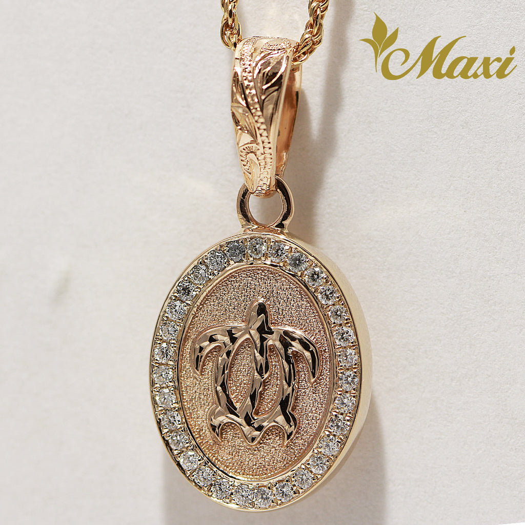 [14K Gold] Honu Oval Diamond Pendant (P0737/No Enamel) [Made to Order]