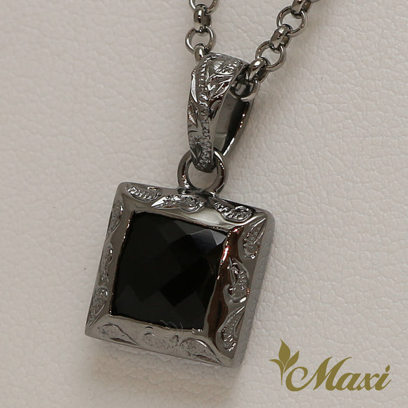 [Black Chrome Silver 925] Black Onyx Cube Pendant-Hand Engraved Traditional Hawaiian Design (P0816)
