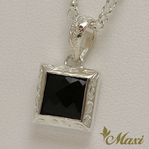 [Silver 925] Black Onyx Cube Pendant-Hand Engraved Traditional Hawaiian Design (P0816)