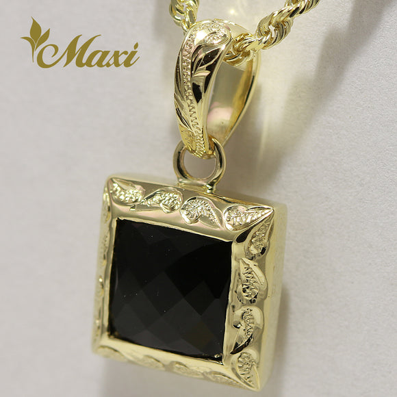[14K Yellow Gold] Black Onyx Cube Pendant-Hand Engraved Traditional Hawaiian Scroll Design (P0816)