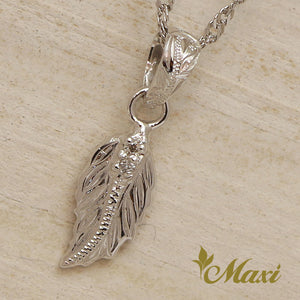 14K Gold Petite Maile Leaf with Diamond-Hand Engraved Traditional Hawaiian Design (P0830)
