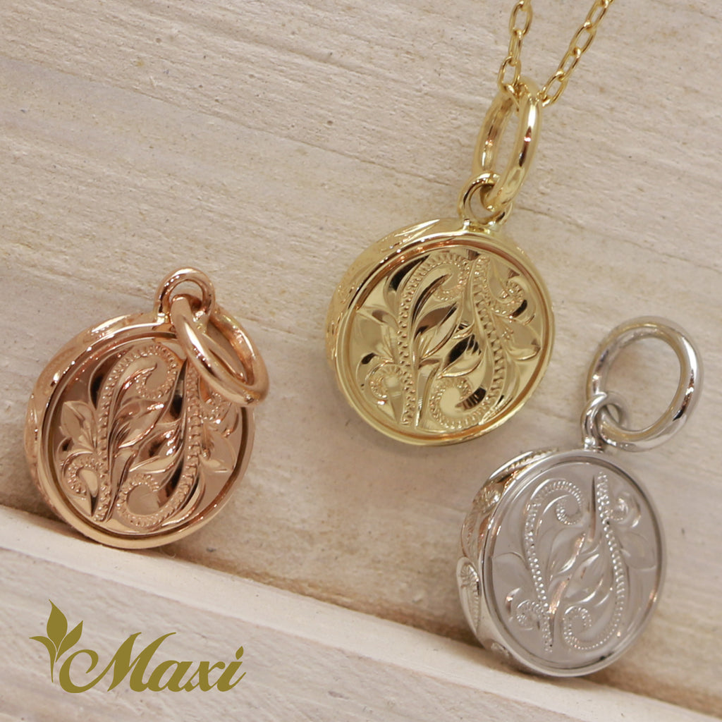 [14K Gold] PoePoe Round Pendant Small-Hand Engraved Traditional Hawaiian Design (P0901)