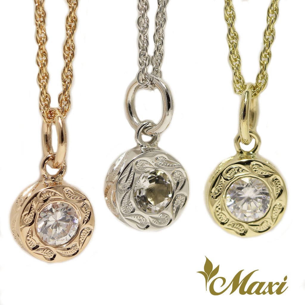 [14K Gold] Round Pendant with Crystal Stone-Hand Engraved Traditional Hawaiian Design (P0903)