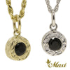 [14K Gold] Round Pendant with Black Onyx Stone-Hand Engraved Traditional Hawaiian Design (P0903)