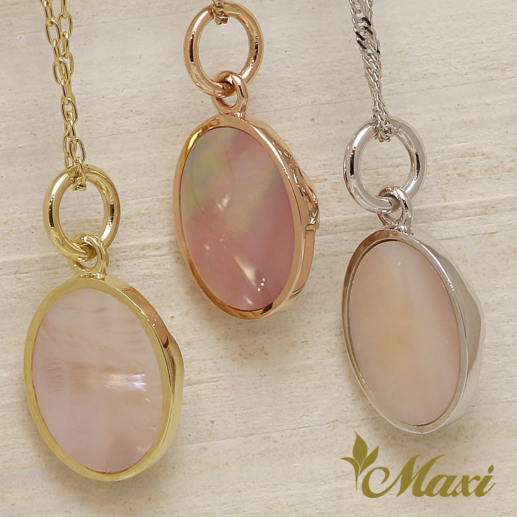 Pink Mother Of Pearl Sleeping Turtle Pendant 14k Gold