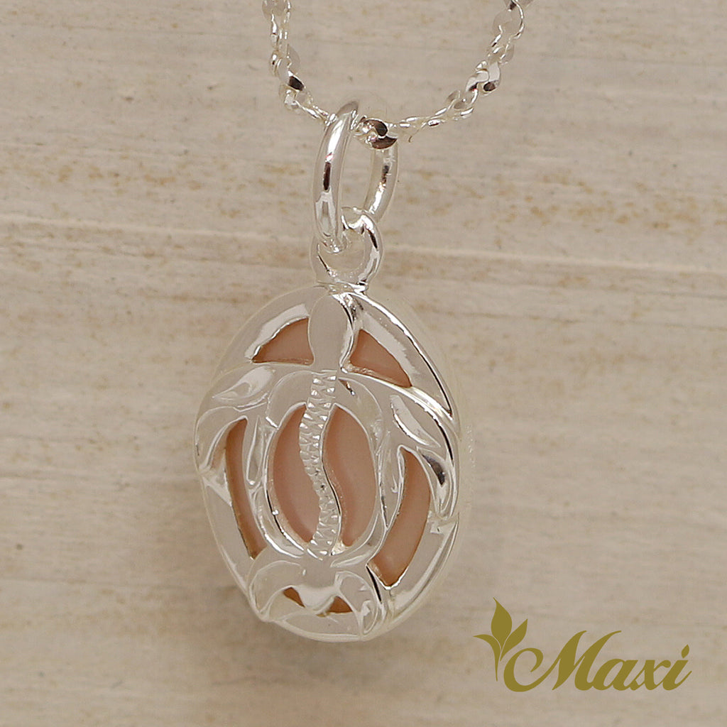 [Silver 925] Mother of Pearl-Honu(Hawaiian Sea Turtle) Pendant-Hand Engraved Traditional Hawaiian Design (P0907)
