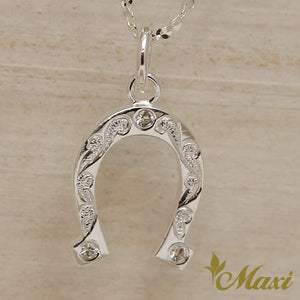 Silver 925 horse shoe pendant with crystal stones hand engraved silver 925 horse shoe pendant with crystal stones hand engraved traditional hawaiian design p0908 mozeypictures Gallery