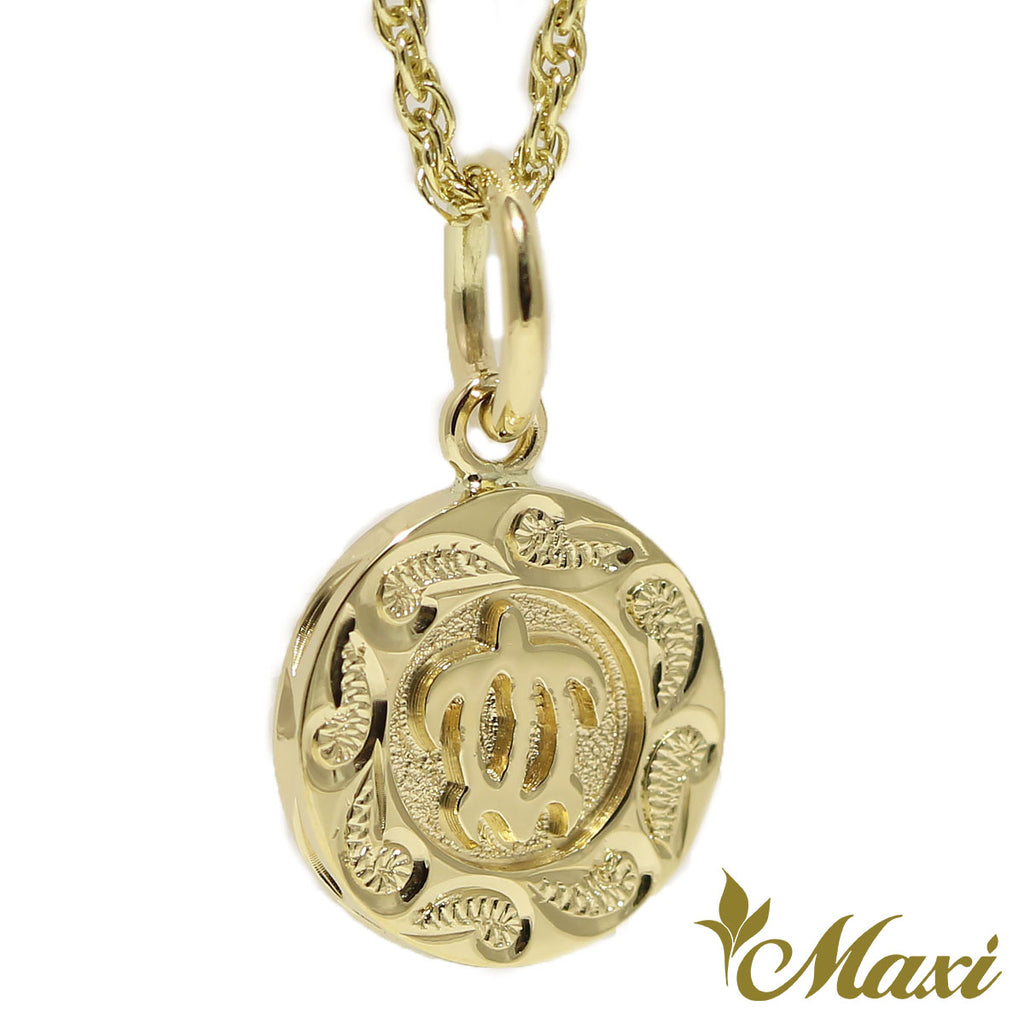 [14K Gold] PoePoe Round Honu Pendant *Made-to-order*(P0910)