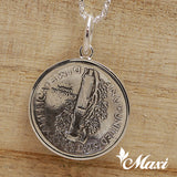 Silver 925 Mercury Dime Pendant-Hand Engraved Traditional Hawaiian Design (P0934)