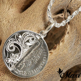 Silver 925 Half Mercury Dime Pendant-Hand Engraved Traditional Hawaiian Design (P0937)