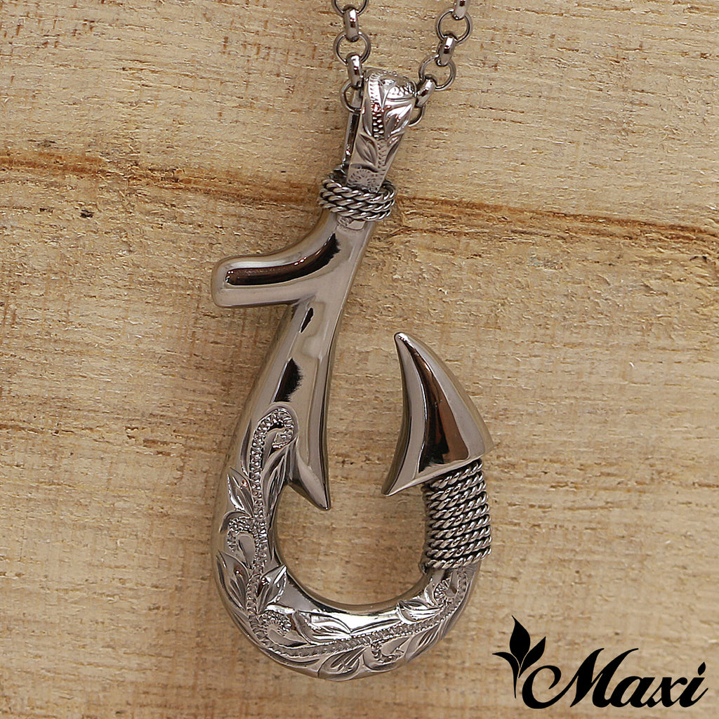 [Black Chrome Silver 925] Fish Hook Pendant Small-Double Side Engraving [Made to Order] (P0953)