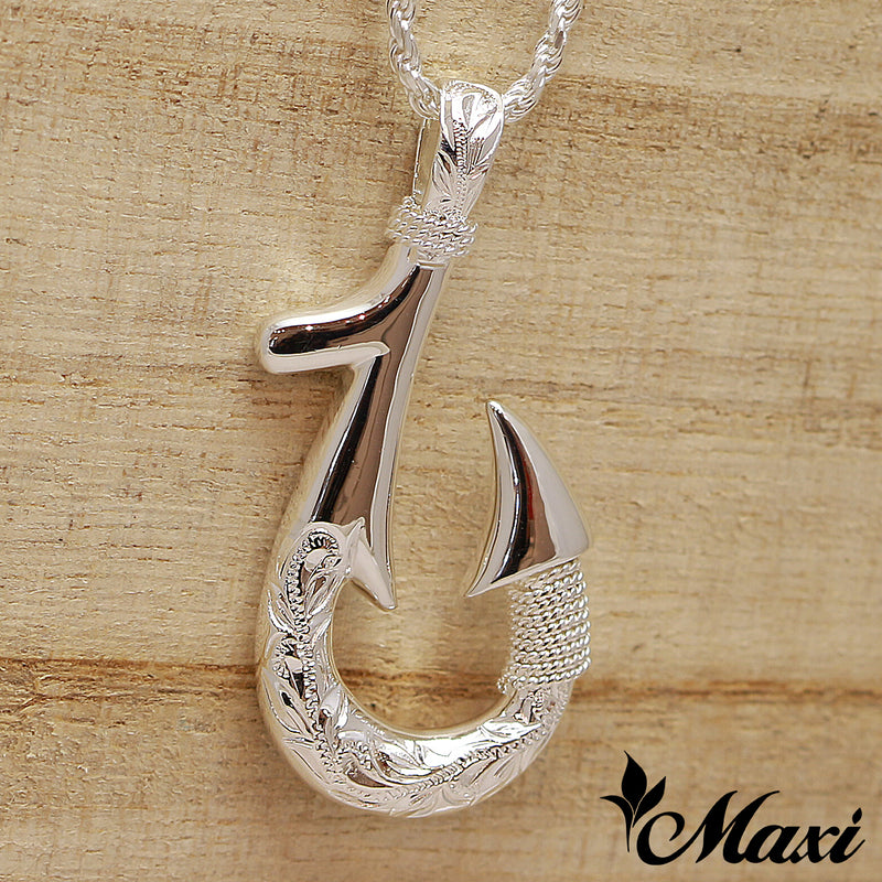 [Silver 925] Fish Hook Pendant Small-Double Side Engraving [Made to Order] (P0953)