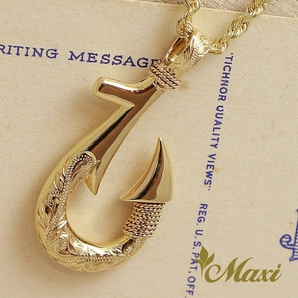 [14K Gold] Fish Hook Pendant Small-Double Side Engraving [Made to Order] (P0953)