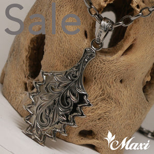 Black Chrome Silver 925 -Hand Engraved Traditional Hawaiian Design (P0954) SALE