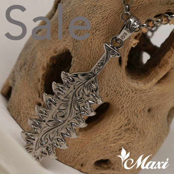 Black Chrome Silver 925 Leiomano Pendant-Hawaiian Traditional Shark Tooth Weapon- (P0955) SALE