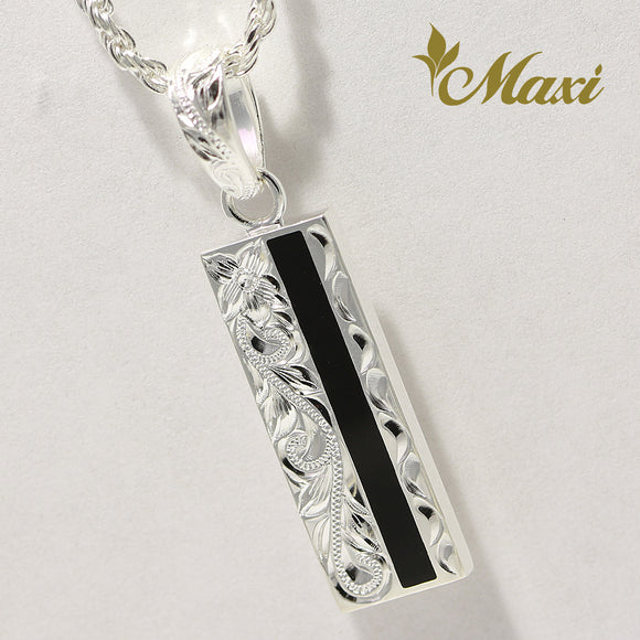 [Silver 925] Black Enamel Bar Pendant (P0965) [Made to Order]