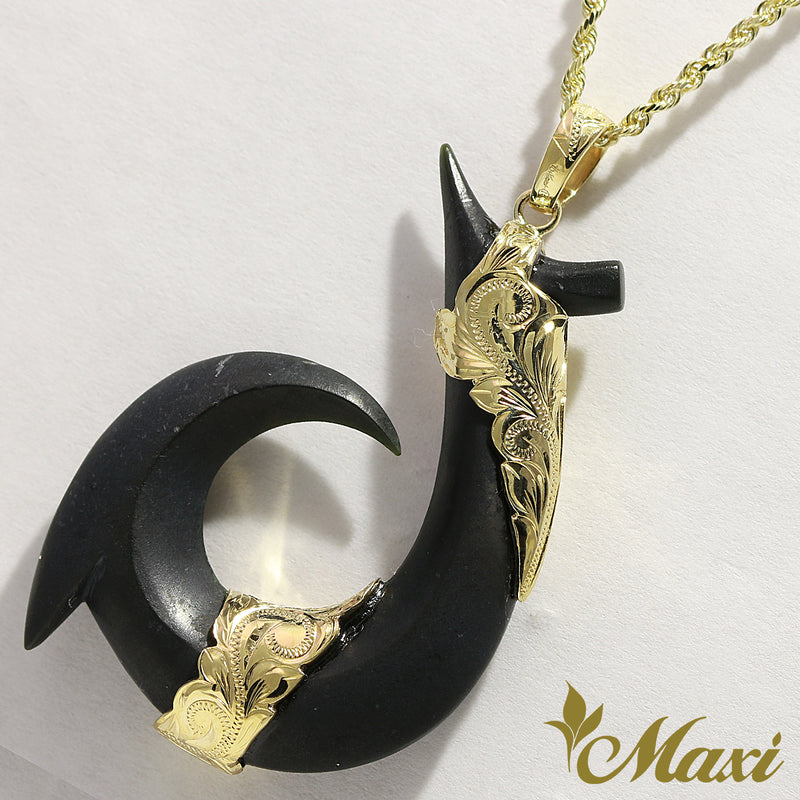 [14K Gold] Black Jade Hawaiian Fishhook