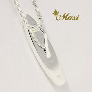 [Silver 925] Surfboard Pendant top with white enamel-Hand Engraved Traditional Hawaiian Design (P1008)