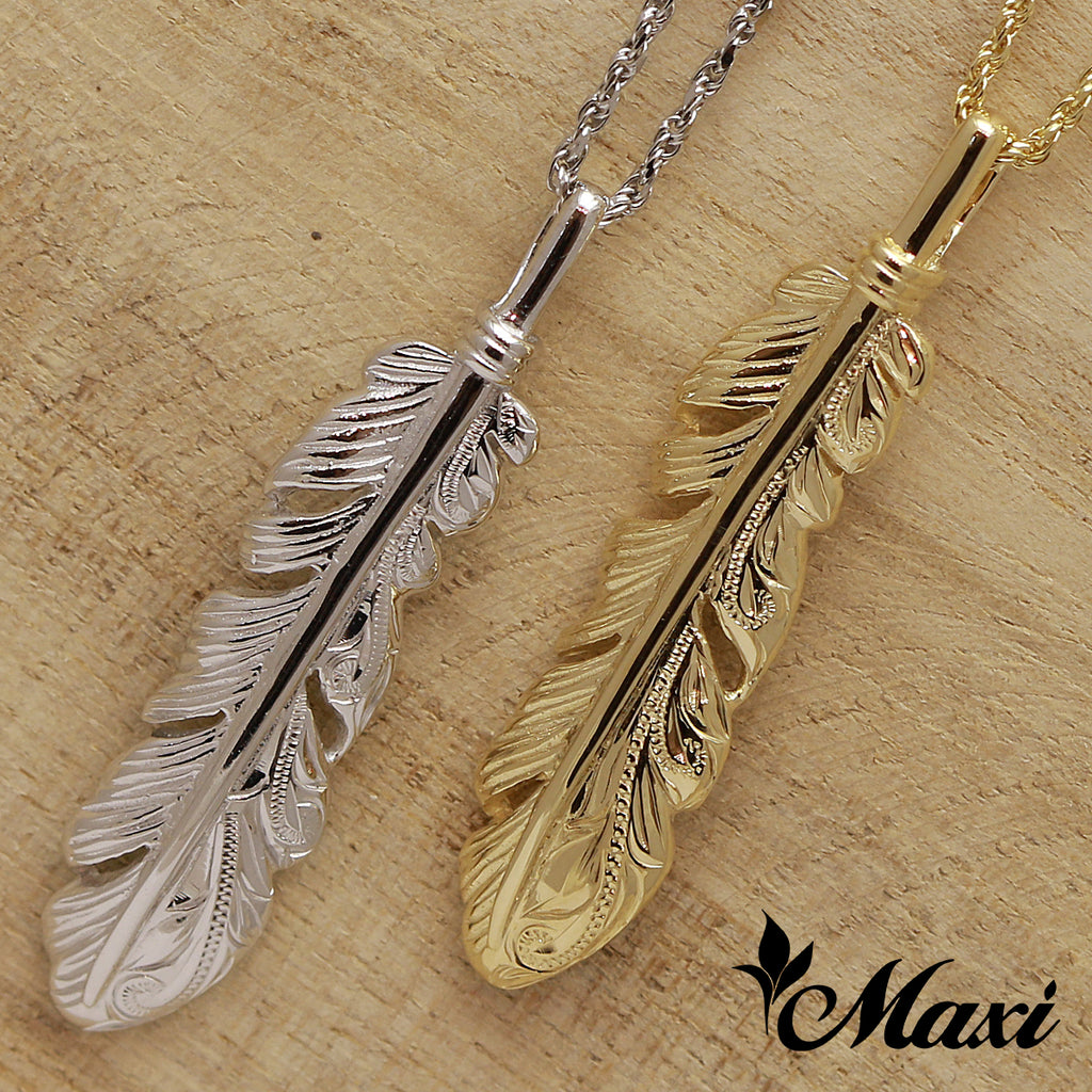 [14K Gold] Hawaiian Engraved Feather Pendant (P1034)