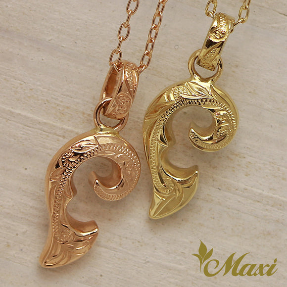 14K Gold Half of Heart Pendant Left-Hand Engraved Traditional Hawaiian Design (P1073)