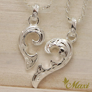 [Silver 925] Half of Heart Pendant Right-Hand Engraved Traditional Hawaiian Design*Made-to-order* (P1074)