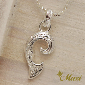 Silver 925 Half of Heart Pendant Left-Hand Engraved Traditional Hawaiian Design (P1073)