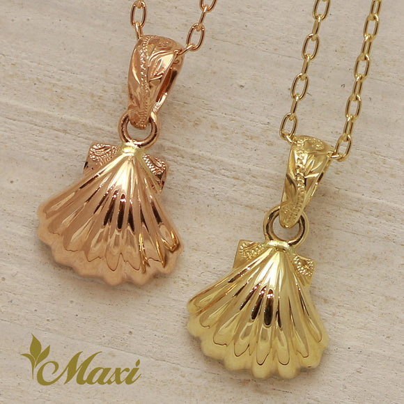 14K Gold Shell Pendant-Hand Engraved Traditional Hawaiian Design (P1093)