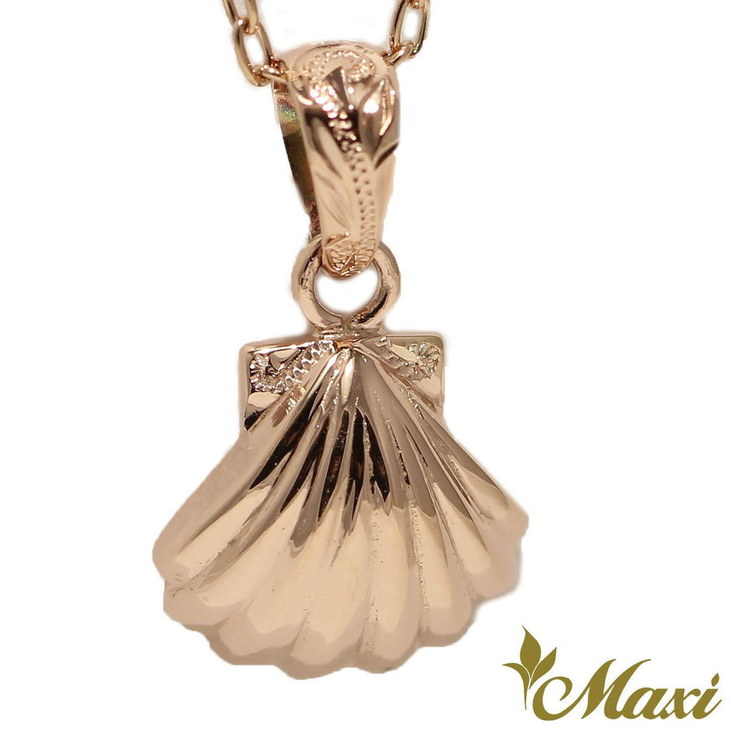 [14K Gold] Shell Pendant-Hand Engraved Traditional Hawaiian Design*Made-to-order* (P1093)
