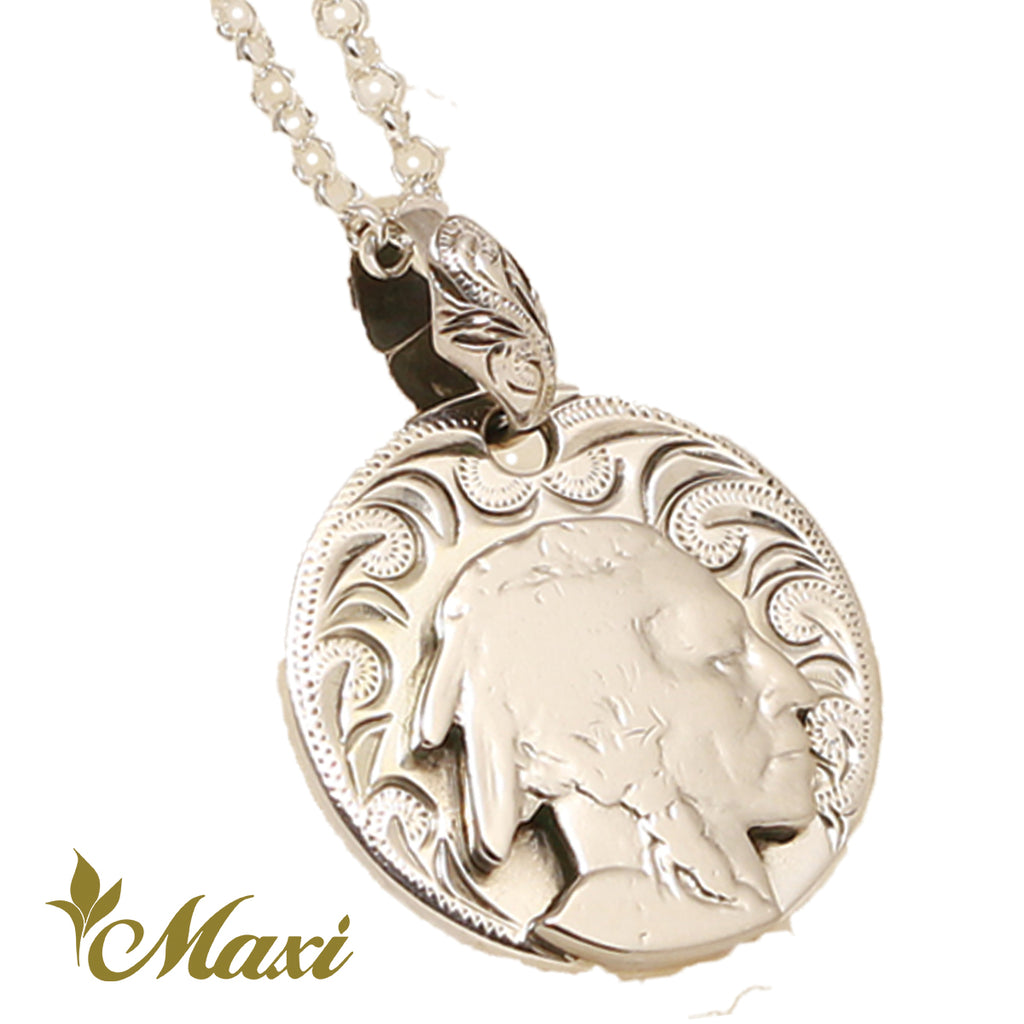 [Silver 925] Buffalo Nickel Coin Round Pendant-Hand Engraved Traditional Hawaiian Design*Made-to-order* (P1121)