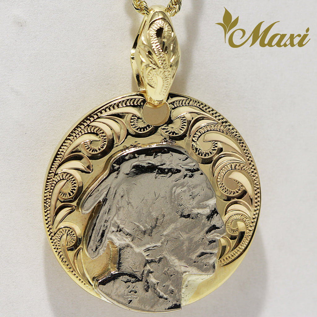 [14K Gold] Buffalo Nickel Coin Pendant (P1121) [Made to Order]