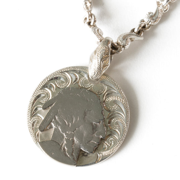 Silver 925 Buffalo Nickel Coin Round Pendant