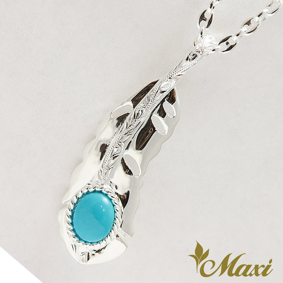 [Silver 925] Feather Pendant Sleeping Beauty Turquoise-Hand Engraved Traditional Hawaiian Design (P1135)