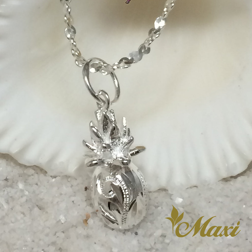 [Silver 925] Pineapple Pendant-Hand Engraved Traditional Hawaiian Design*Made-to-order* (P1160)