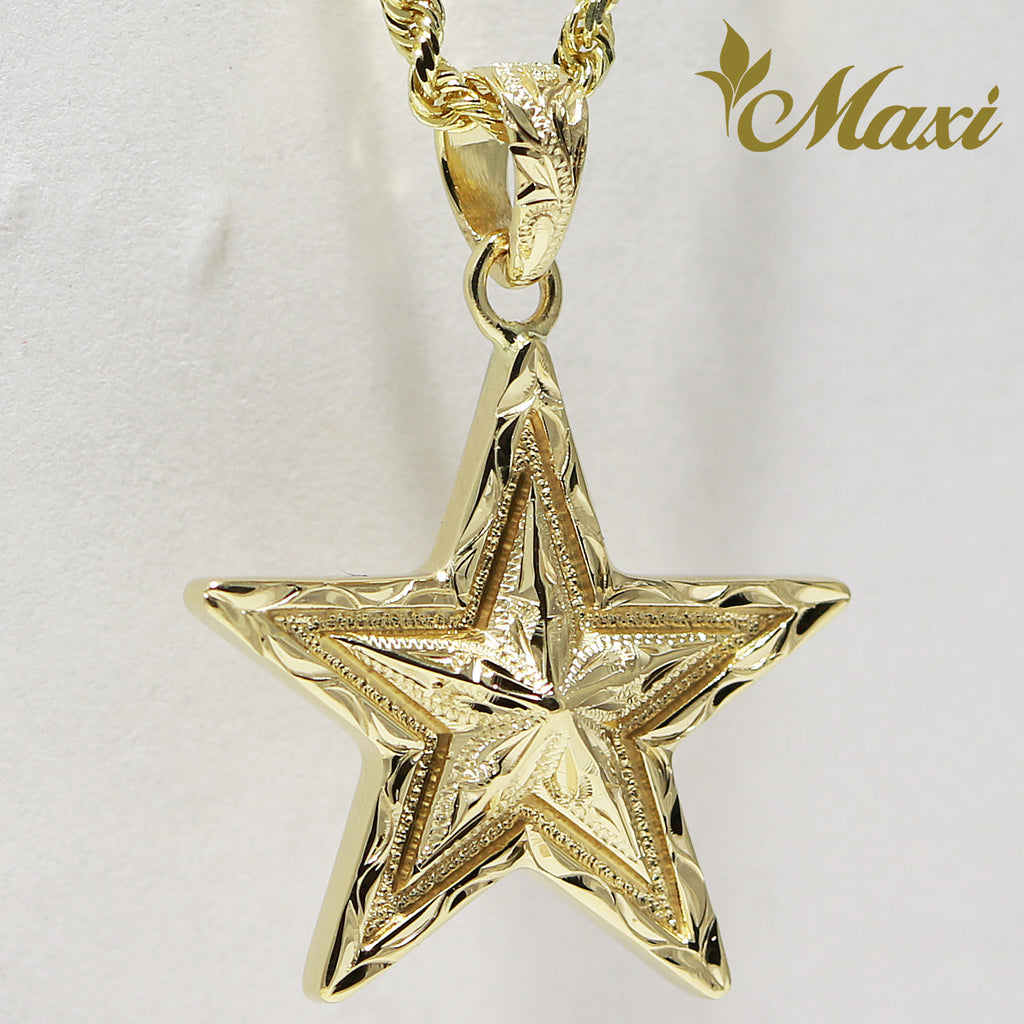[14K Yellow Gold] Star Pendant-Hand Engraved Traditional Hawaiian Design*Made-to-order* (P1172)