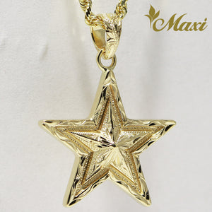 14K Yellow Gold Star Pendant-Hand Engraved Traditional Hawaiian Design (P1172)