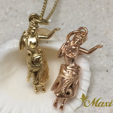 14K Gold Hula Girl Pendant-Hand Engraved Traditional Hawaiian Design (P1173)