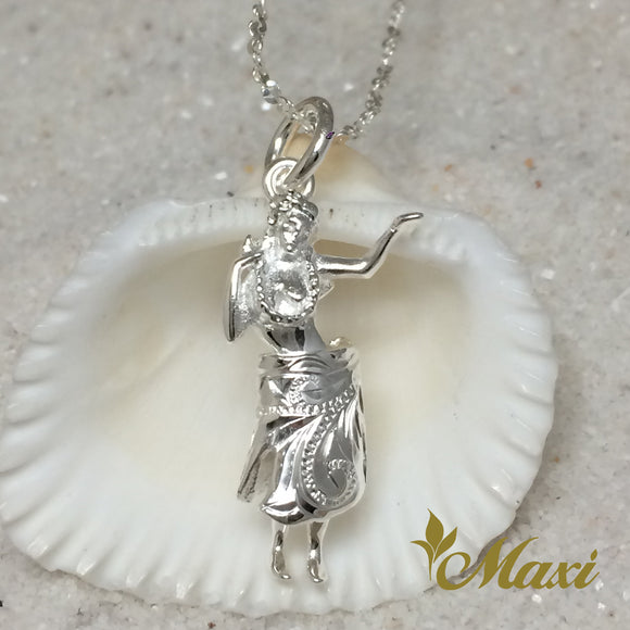 Silver 925 Hula Girl Pendant-Hand Engraved Traditional Hawaiian Design (P1173)