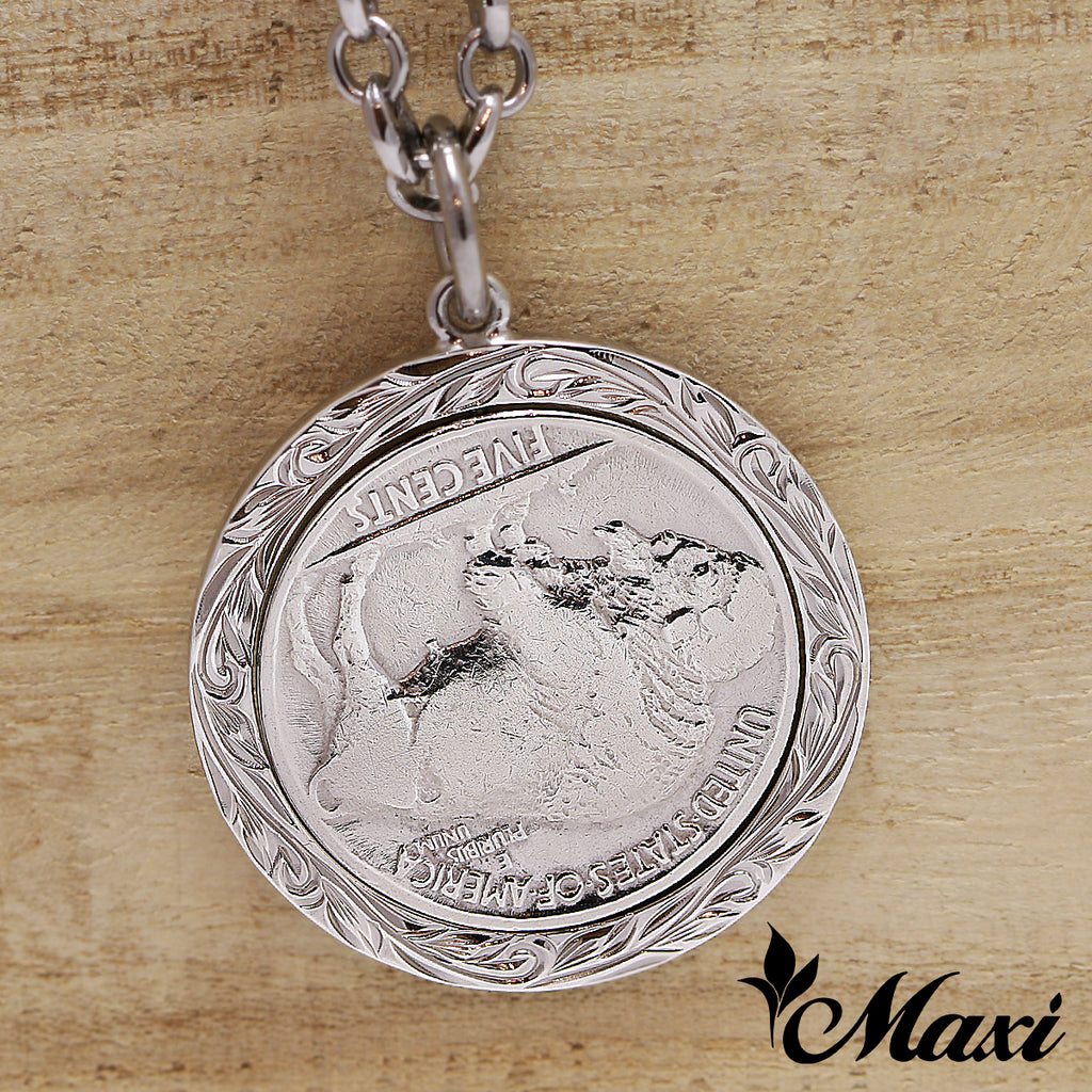 [Black Chrome Silver 925] Buffalo Nickel Coin Pendant-Hand Engraved Traditional Hawaiian Design (P1229)