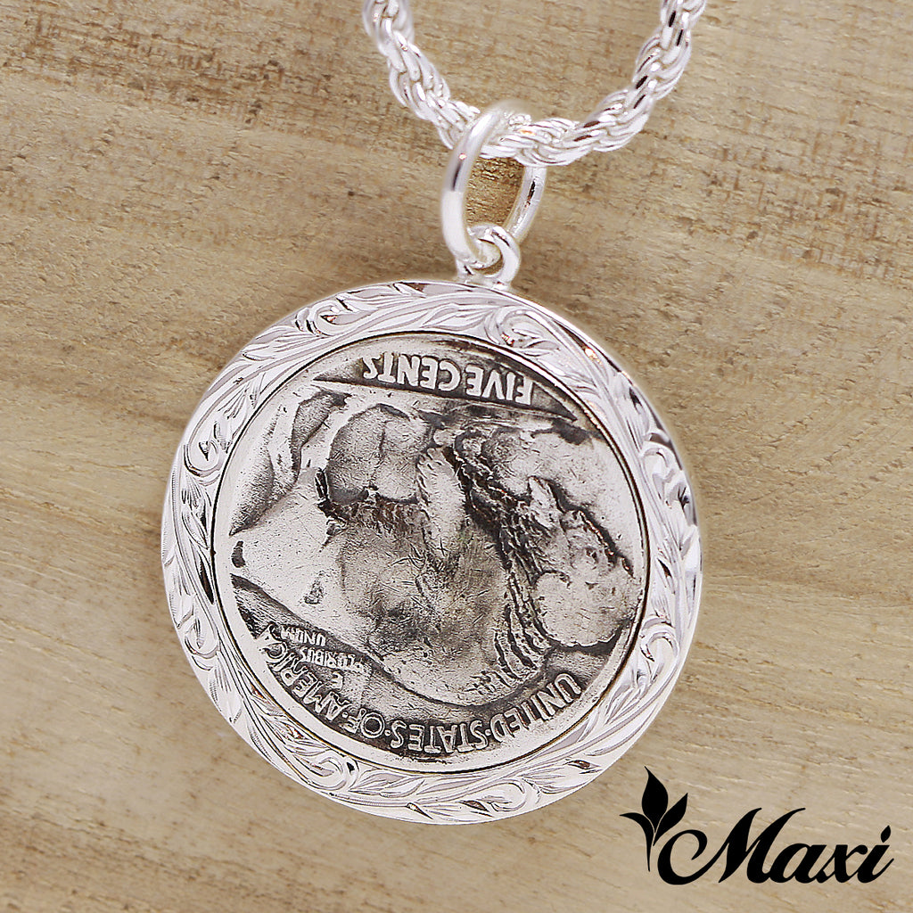 [Silver 925] Buffalo Coin Pendants-Hand Engraved Traditional Hawaiian Design*Made-to-order* (P1229)