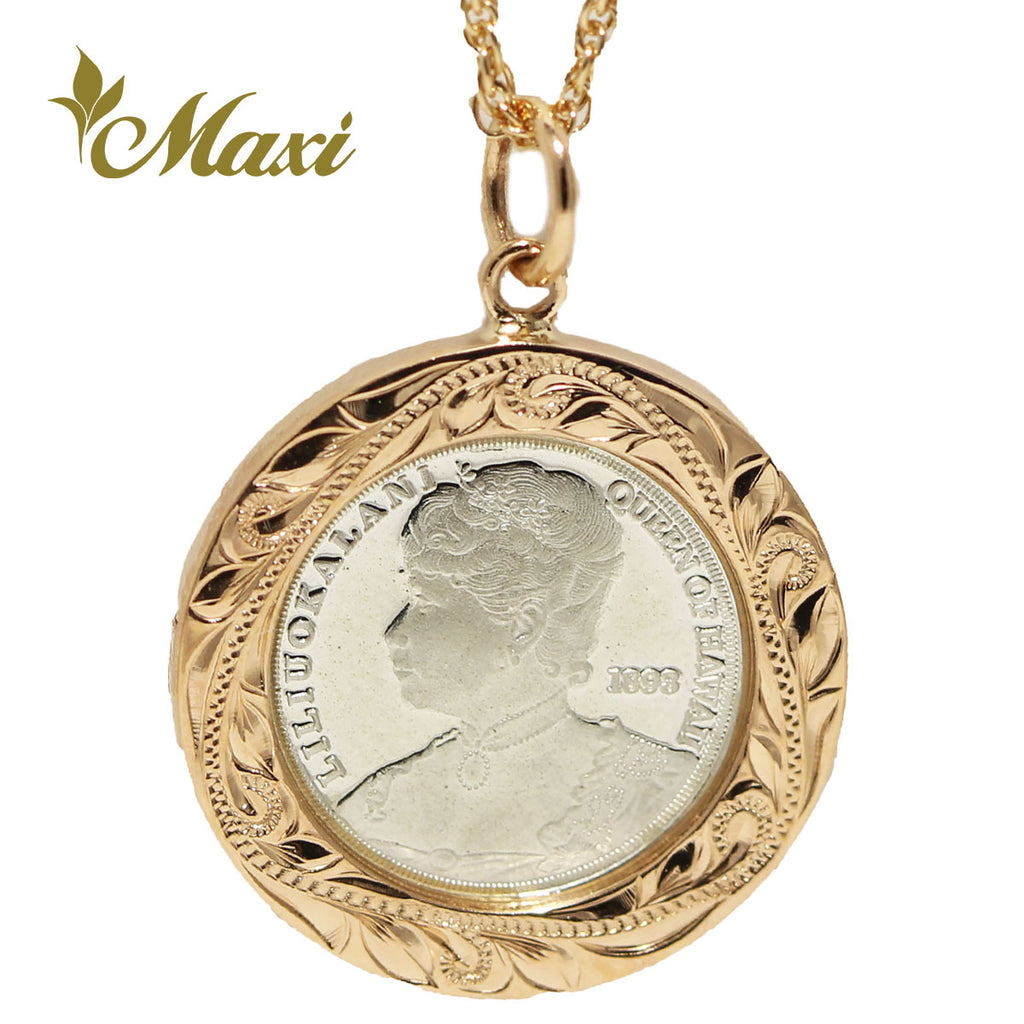 [14K Gold] Liliuokalani Replica Coin Pendant Small (P1242 18mm)