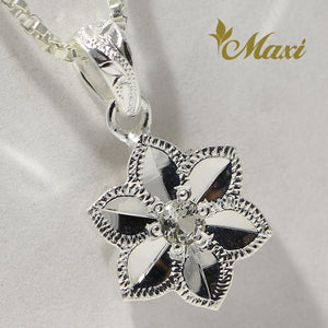 [Silver 925] Hawaiian Plumeria Flower Pendant with Crystal (P1251)