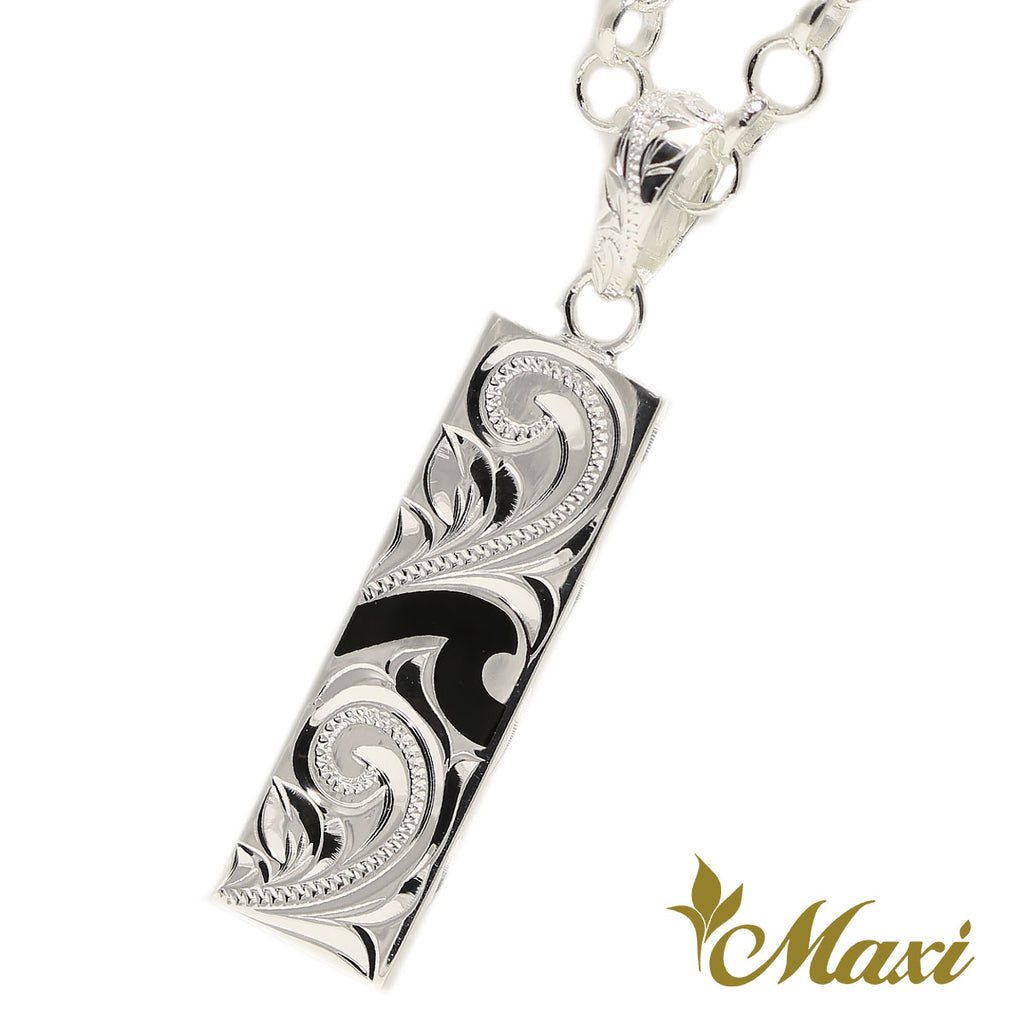 [Silver 925]Bar Pendant-Wave-Enamel with Engraving (P1279-A)*Mede-to order*