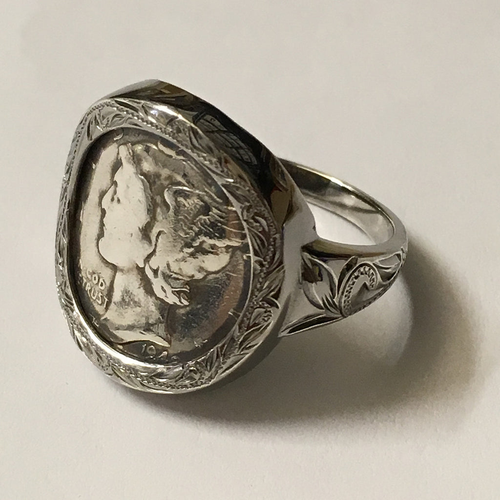 Black Chrome Mercury Dime Wrap Ring